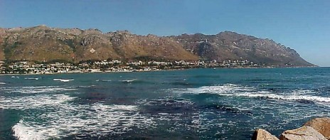 Gordons Bay, with stone-packed white anchor against the mountain at the back.